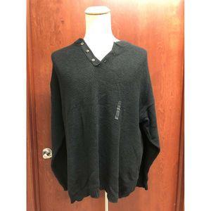 Eddie Bauer Sweater Men  Black V Neck Pullover XL